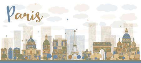 paris skyline: Abstract Paris skyline with color landmarks. Vector illustration