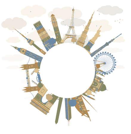 globo terraqueo: Concepto de viajes de todo el mundo. Puntos de referencia internacionales famosos. Ilustraci�n vectorial