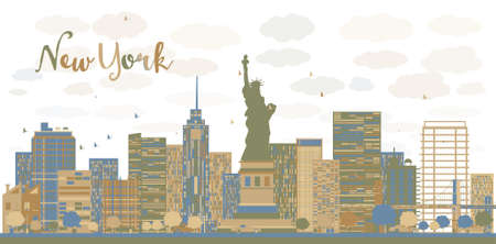 new york skyline: New York city architecture skyline with blue and brown buildings. Vector illustration