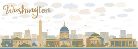 jefferson: Washington DC city skyline. Vector illustration with cloud and sky