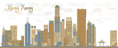 hong kong: Hong Kong skyline with blue and brown buildings. Vector illustration