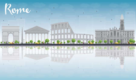 reflections: Rome skyline with grey landmarks, blue sky and reflections. Vector illustration