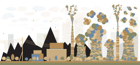 environmen: Abstract Coal power plant or factory pipes with smoke. Vector Illustration