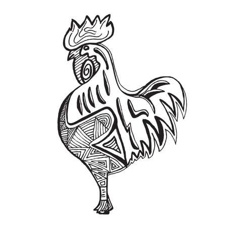 tatouage oiseau: Tir� par la main Cock sur fond blanc. Vector illustration