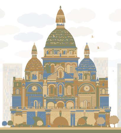 Basilica of the Sacred Heart, Paris, France. Vector illustration Illustration