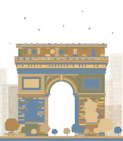 napoleon: Color Arch of Triumph, Paris, France. Vector illustration Stock Illustratie