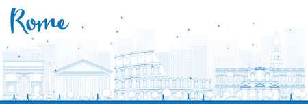 Outline Roma skyline con punti di riferimento azzurri. Illustrazione vettoriale