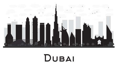 Dubai City skyline black and white silhouette. Vector illustration.