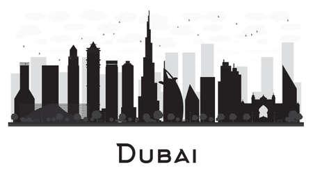 Horizonte de la ciudad de Dubai negro y blanco de la silueta. Ilustración del vector. Ilustración de vector