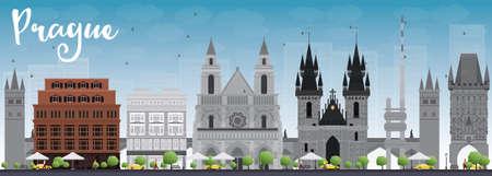 grey sky: Prague skyline with grey landmarks and blue sky. Vector illustration