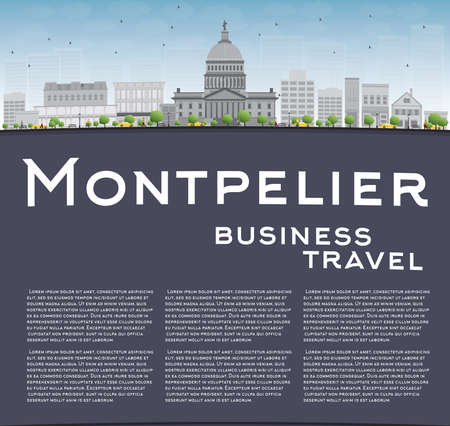 Montpelier Vermont city skyline with grey buildings and copy space. Business travel concept. Vector illustration