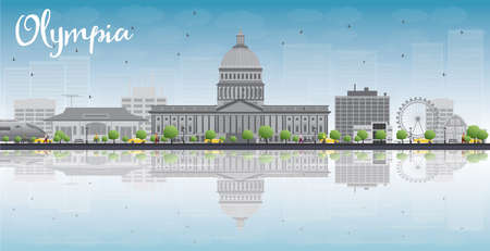 reflections: Olympia Washington Skyline with Grey Buildings, Blue Sky and reflections. Vector Illustration Illustration