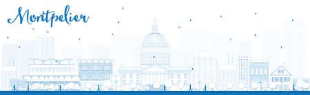 Outline Montpelier Vermont horizon de la ville avec des bâtiments bleus. Vector illustration Banque d'images - 46505122