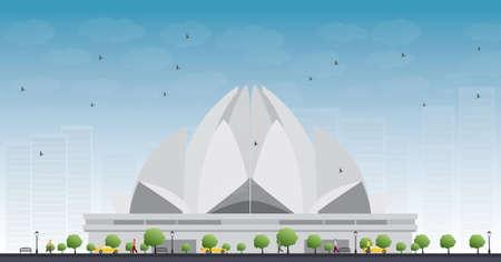 templo: El Templo del Loto, que se encuentra en Nueva Delhi, India, es una casa de Bahai de Culto. Ilustraci�n vectorial Vectores