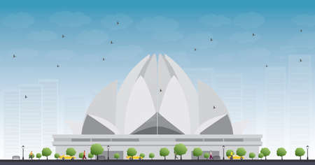 the temple: The Lotus Temple, located in New Delhi, India, is a Bahai House of Worship. Vector Illustration