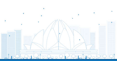 house of worship: Outline The Lotus Temple, located in New Delhi, India, is a Bahai House of Worship. Vector Illustration Illustration