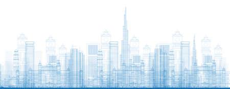 Schetsen Dubai Stad Wolkenkrabbers in blauwe kleur. Vector illustratie