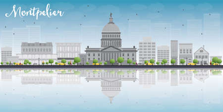 reflections: Montpelier Vermont city skyline with grey buildings, blue sky and reflections. Vector illustration Illustration