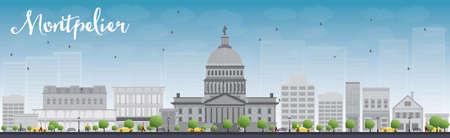 Montpelier vermont city skyline avec des bâtiments gris et ciel bleu. Illustration vectorielle Banque d'images - 46504907