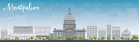 Montpelier Vermont city skyline with grey buildings and blue sky. Vector illustration