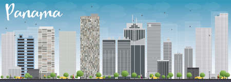 panama city: Panama City skyline with grey skyscrapers and blue sky. Vector Illustration