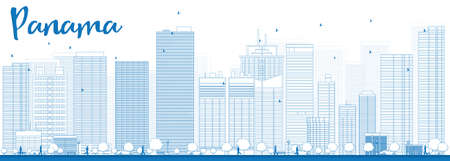 panama city: Outline Panama City skyline with blue skyscrapers. Vector Illustration