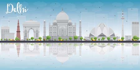 Delhi skyline with grey landmarks, blue sky and reflections. Vector illustration