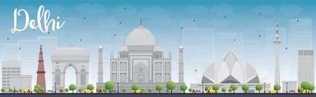 grey sky: Delhi skyline with grey landmarks and blue sky. Vector illustration Illustration