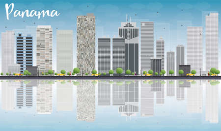 panorama city panorama: Panama City skyline with grey skyscrapers, blue sky and reflections. Vector Illustration Illustration