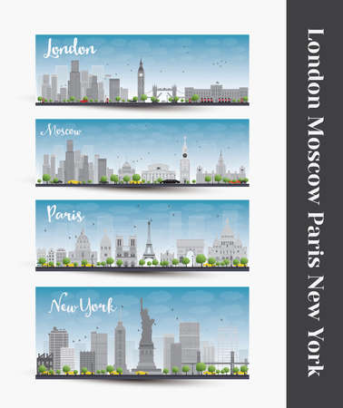 london city: London, Moscow, Paris, New York. Set of four city skyline banners. Business travel and tourism concept with famous landmarks, historic and modern buildings.