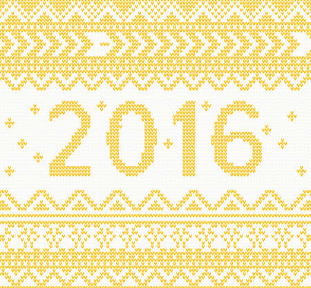 hosiery: Christmas Knitted Yellow New Year 2016 card . Vector illustration. Christmas concept for banner, placard, billboard or web site. New Year retro greeting card and background Illustration