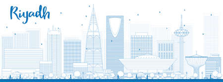 Outline Riyadh skyline with blue buildings. Vector illustration. Business and tourism concept with skyscrapers. Image for presentation, banner, placard or web site