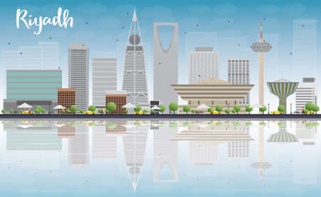 회색 건물, 푸른 하늘과 반사와 리야드의 스카이 라인. 벡터 일러스트 레이 션. 고층 빌딩 비즈니스 및 관광 개념. 프리젠 테이션, 배너, 플래 카드 또는 일러스트