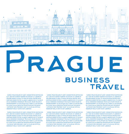 old buildings: Outline Prague skyline with blue landmarks and copy space. Vector illustration. Business and tourism concept with old buildings. Image for presentation, banner, placard or web site