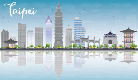 Taipei skyline with grey landmarks, blue sky and reflection. Vector illustration. Business travel and tourism concept with place for text. Image for presentation, banner, placard and web site.  イラスト・ベクター素材