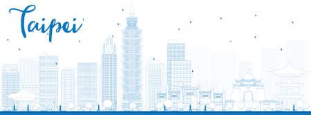 cab: Esquema horizonte de Taipei con las se�ales azules. Ilustraci�n del vector. Los viajes de negocios y el concepto del turismo con los edificios modernos. Imagen de la presentaci�n, bandera, cartel y el sitio web.