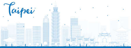 taiwan: Outline Taipei skyline with blue landmarks. Vector illustration. Business travel and tourism concept with modern buildings. Image for presentation, banner, placard and web site.
