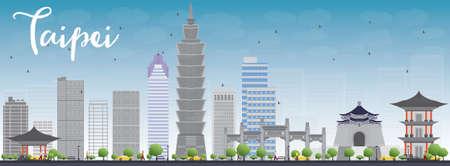 회색 랜드 마크와 푸른 하늘 타이페이 스카이 라인. 벡터 일러스트 레이 션. 현대적인 건물 비즈니스 여행 및 관광 개념입니다. 프리젠 테이션, 배너,