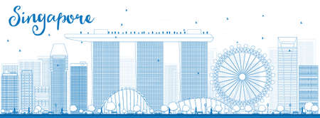 outlinear: Esquema horizonte de Singapur con señales azules. Los viajes de negocios y el concepto del turismo con los edificios modernos. Imagen de la presentación, bandera, cartel y el sitio web. Ilustración vectorial