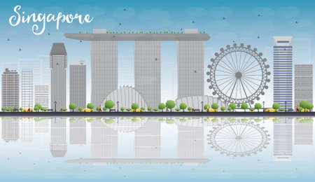 singapore city: Singapore skyline with grey landmarks, blue sky and reflections. Business travel and tourism concept with place for text. Image for presentation, banner, placard and web site. Vector illustration