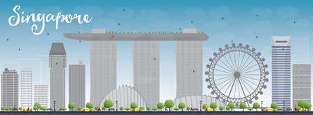 city skyline: Singapore skyline with grey landmarks and blue sky. Business travel and tourism concept with modern buildings. Image for presentation, banner, placard and web site. Vector illustration Illustration