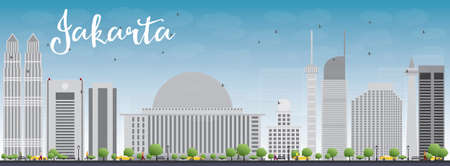 indonesia culture: Jakarta skyline with grey landmarks and blue sky. Vector illustration. Business travel and tourism concept with historic buildings. Image for presentation, banner, placard and web site.