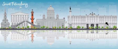 Saint-Pétersbourg horizon avec des repères gris, ciel bleu et copie espace. Voyage d'affaires et le concept du tourisme avec des bâtiments historiques. Image pour la présentation, bannière, affiche et le site Web. Vector illustration Vecteurs