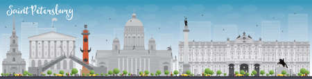 st petersburg: Saint Petersburg skyline with grey landmarks and blue sky. Business travel and tourism concept with historic buildings. Image for presentation, banner, placard and web site. Vector illustration
