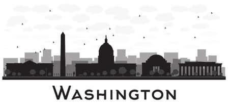 stad Washington DC skyline zwart en wit silhouet. Vector illustratie. Eenvoudige vlakke concept voor toerisme presentatie, banner, aanplakbiljet of website. Zakenreizen concept. Stadslandschap met beroemde bezienswaardigheden