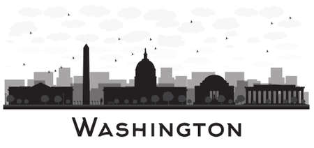 washington state: Washington dc city skyline black and white silhouette. Vector illustration. Simple flat concept for tourism presentation, banner, placard or web site. Business travel concept. Cityscape with famous landmarks