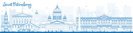 Outline Saint Petersburg skyline with blue landmarks. Business travel and tourism concept with historic buildings. Image for presentation, banner, placard and web site. Vector illustration