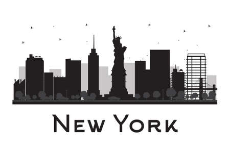 new york silhouette: New York City skyline black and white silhouette. Vector illustration. Concept for tourism presentation, banner, placard or web site. Business travel concept. Cityscape with famous landmarks