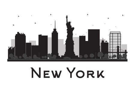 New York City skyline zwart en wit silhouet. Vector illustratie. Concept voor het toerisme presentatie, banner, aanplakbiljet of website. Zakenreizen concept. Stadslandschap met beroemde bezienswaardigheden Stock Illustratie