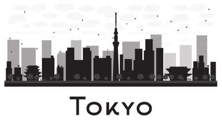 tokyo city: Tokyo City skyline black and white silhouette. Vector illustration. Simple flat concept for tourism presentation, banner, placard or web site. Business travel concept. Cityscape with famous landmarks